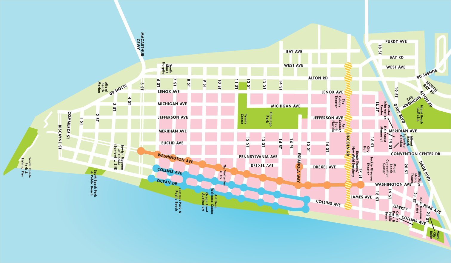 south beach map. miami news itinerary
